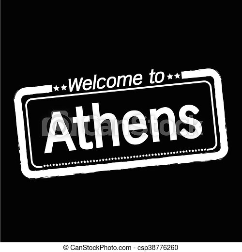 Welcome to Athens city illustration design - csp38776260