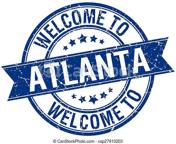welcome to Atlanta blue round ribbon stamp - csp27910203