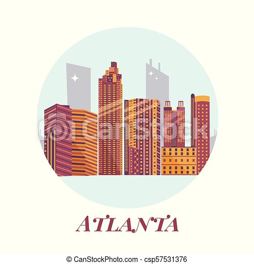 Welcome to Atlanta poster. View on city skyscrapers - csp57531376