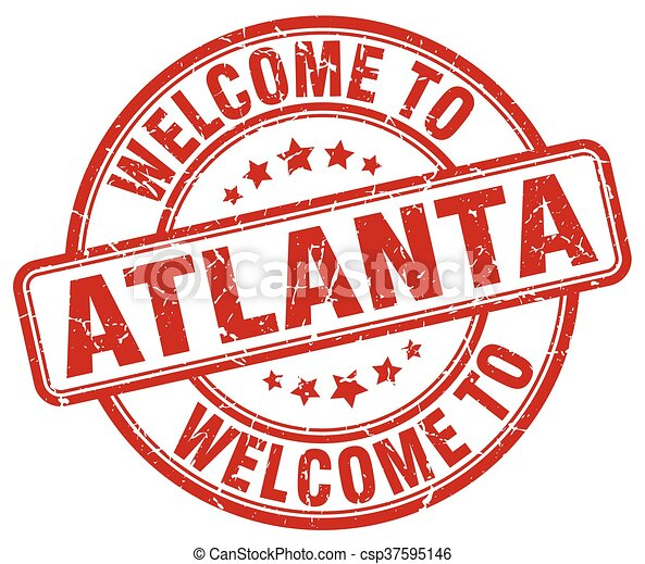 welcome to Atlanta red round vintage stamp - csp37595146
