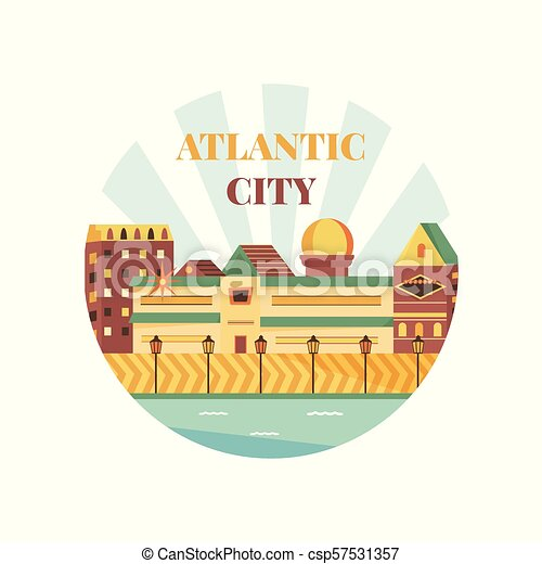 Welcome to Atlantic City poster. View on city - csp57531357