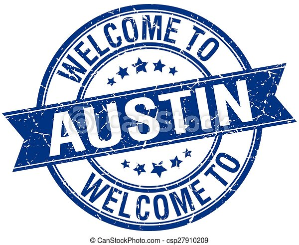 welcome to Austin blue round ribbon stamp - csp27910209