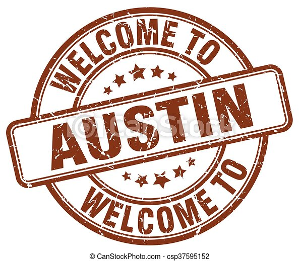 welcome to Austin brown round vintage stamp - csp37595152