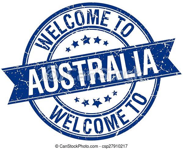 welcome to Australia blue round ribbon stamp - csp27910217