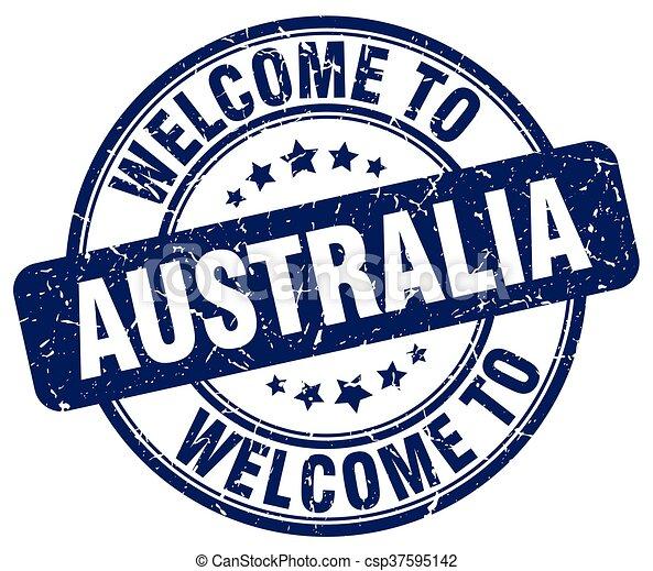 welcome to Australia blue round vintage stamp - csp37595142