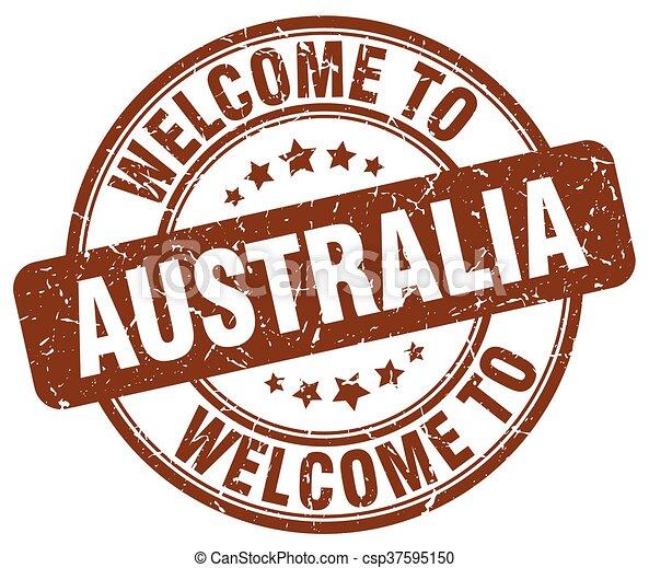 welcome to Australia brown round vintage stamp - csp37595150