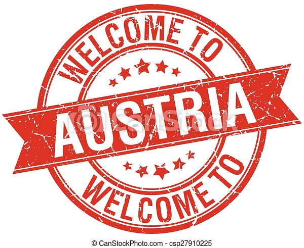 welcome to Austria red round ribbon stamp - csp27910225