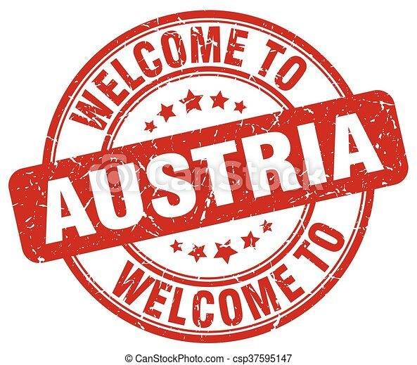 welcome to Austria red round vintage stamp - csp37595147