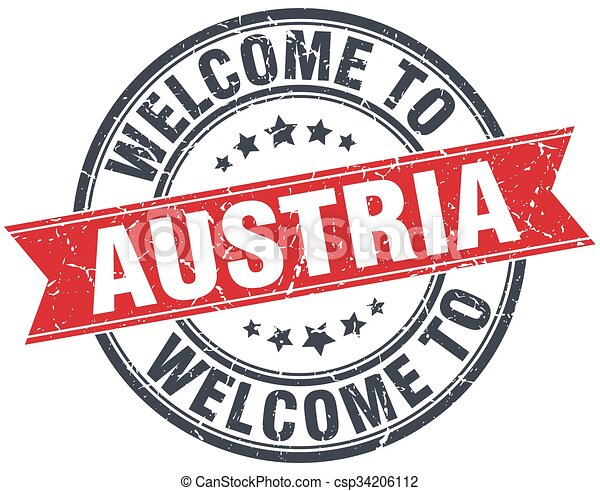 welcome to Austria red round vintage stamp - csp34206112