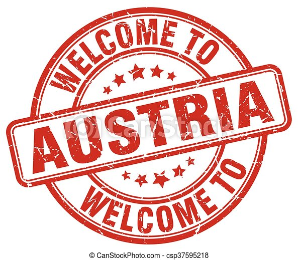 welcome to Austria red round vintage stamp - csp37595218