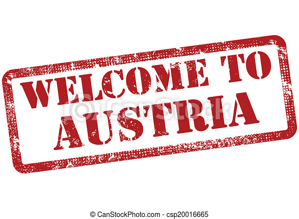 welcome to austria stamp - csp20016665