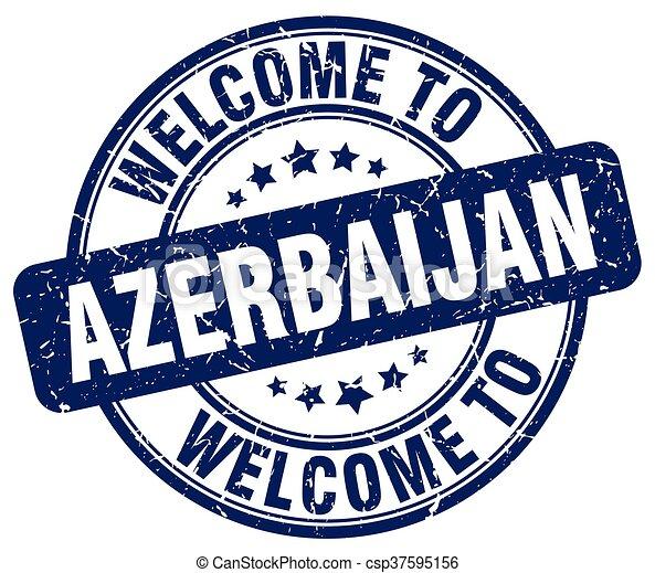 welcome to Azerbaijan blue round vintage stamp - csp37595156
