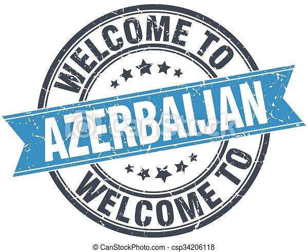 welcome to Azerbaijan blue round vintage stamp - csp34206118