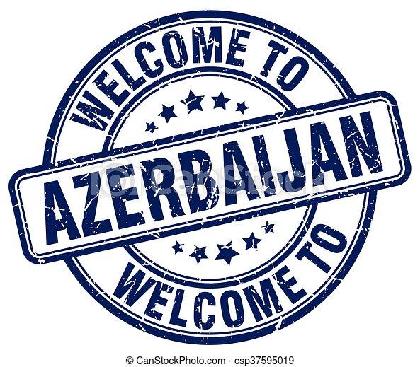 welcome to Azerbaijan blue round vintage stamp - csp37595019
