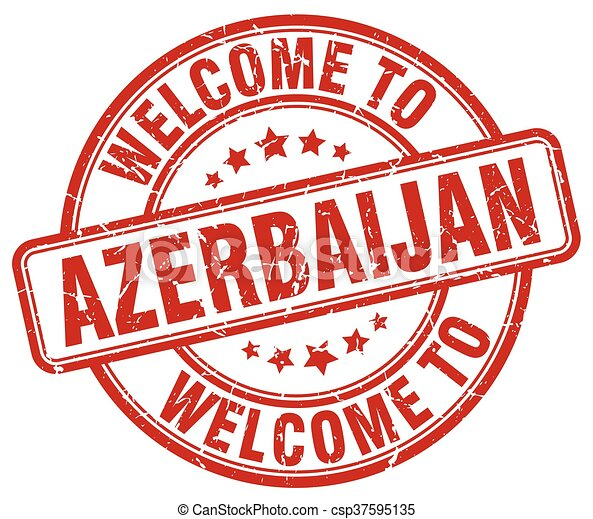 welcome to Azerbaijan red round vintage stamp - csp37595135