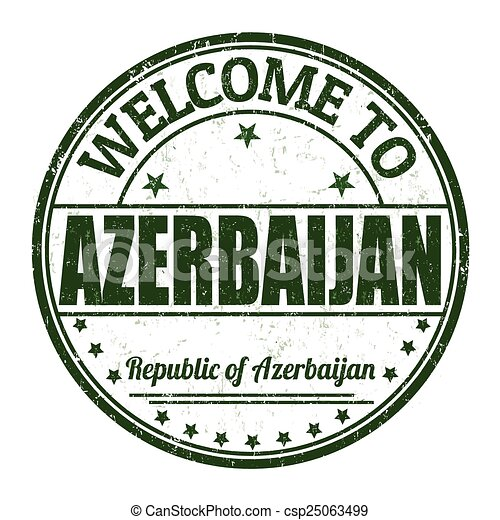 Welcome to Azerbaijan stamp - csp25063499