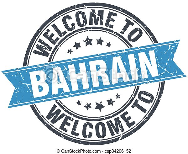 welcome to Bahrain blue round vintage stamp - csp34206152