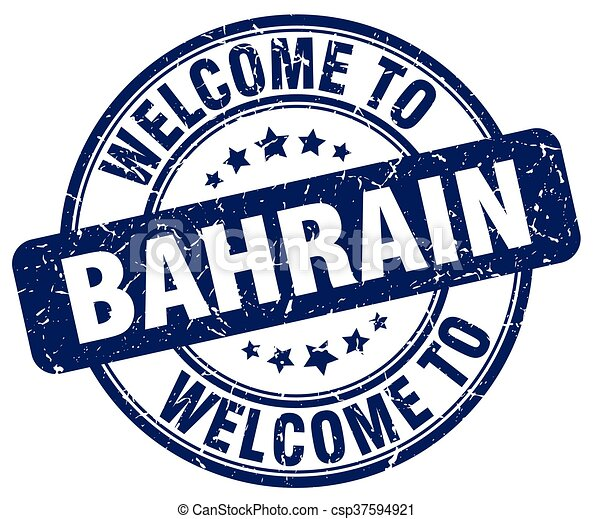 welcome to Bahrain blue round vintage stamp - csp37594921