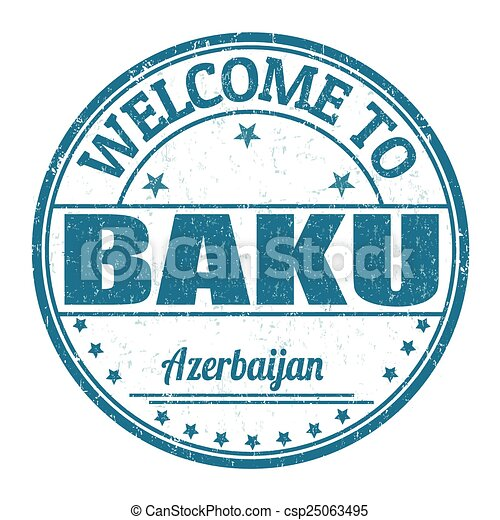 Welcome to Baku, Azerbaijan stamp - csp25063495