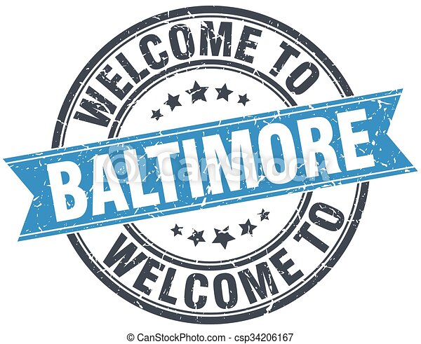 welcome to Baltimore blue round vintage stamp - csp34206167