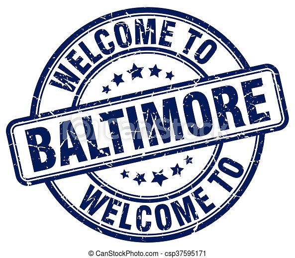 welcome to Baltimore blue round vintage stamp - csp37595171
