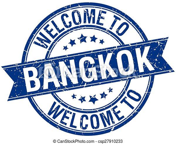 welcome to Bangkok blue round ribbon stamp - csp27910233