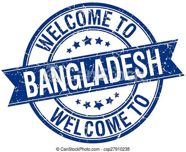 welcome to Bangladesh blue round ribbon stamp - csp27910238