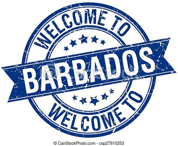 welcome to Barbados blue round ribbon stamp - csp27910253