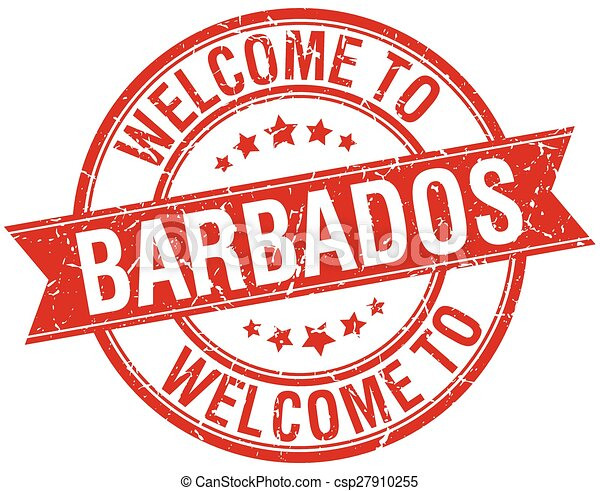 welcome to Barbados red round ribbon stamp - csp27910255