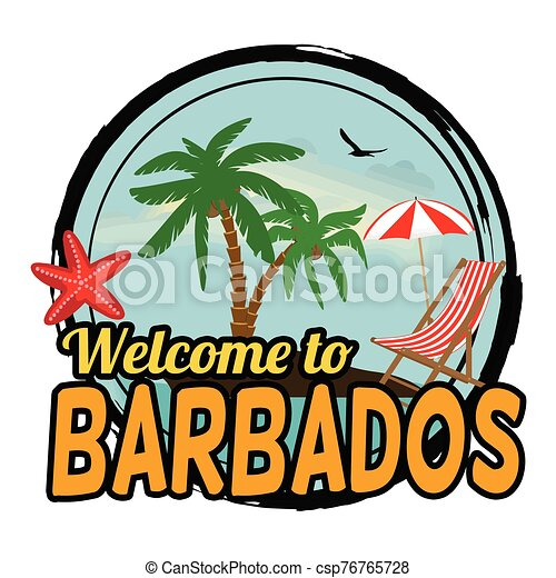 Welcome to Barbados sign or stamp - csp76765728