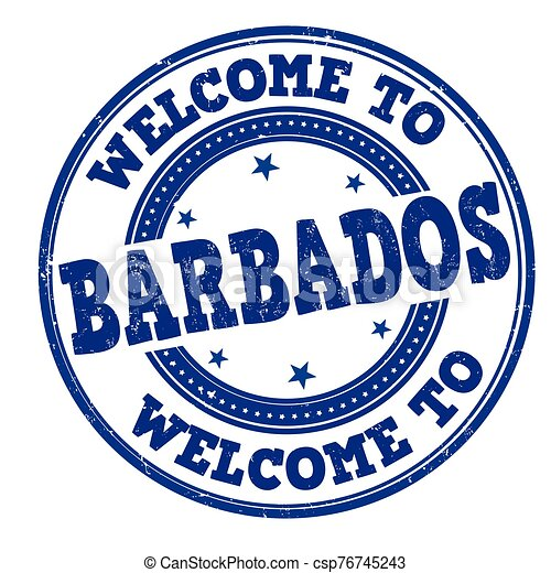 Welcome to Barbados stamp - csp76745243