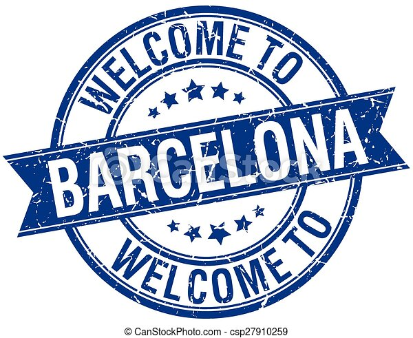 welcome to Barcelona blue round ribbon stamp - csp27910259