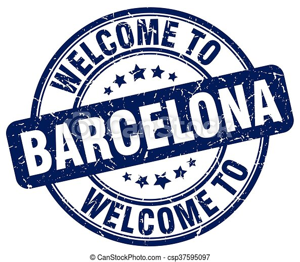 welcome to Barcelona blue round vintage stamp - csp37595097