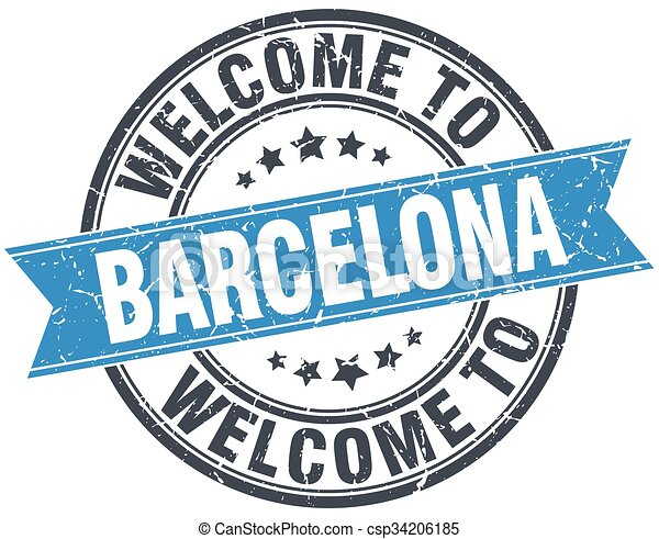 welcome to Barcelona blue round vintage stamp - csp34206185