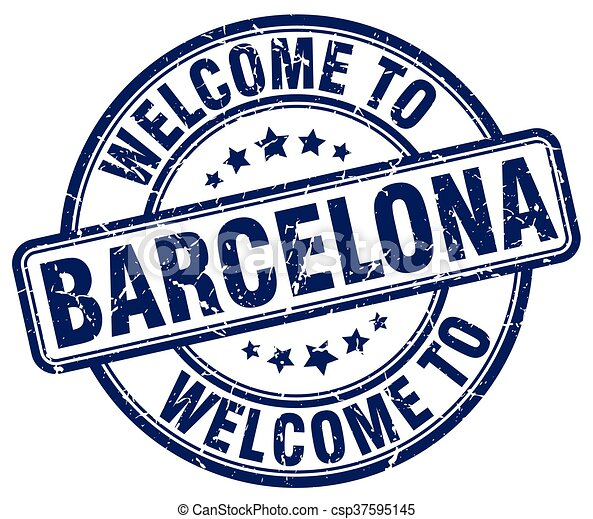 welcome to Barcelona blue round vintage stamp - csp37595145