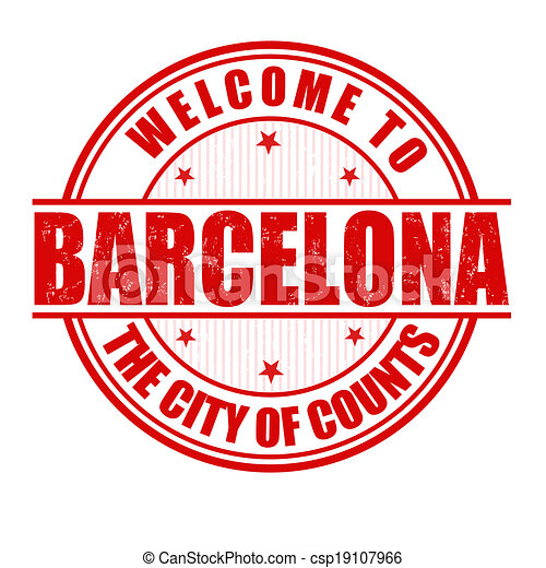 Welcome to Barcelona stamp - csp19107966