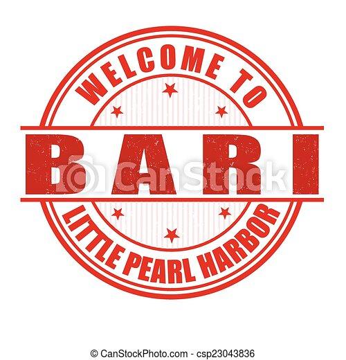 Welcome to Bari stamp - csp23043836