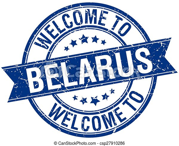 welcome to Belarus blue round ribbon stamp - csp27910286