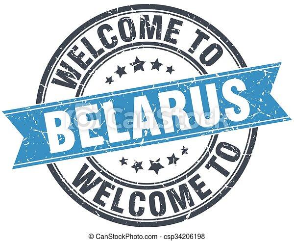 welcome to Belarus blue round vintage stamp - csp34206198