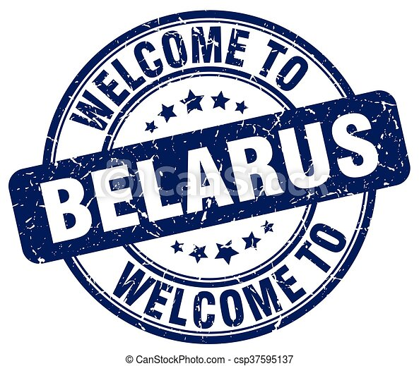 welcome to Belarus blue round vintage stamp - csp37595137