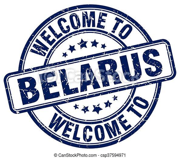 welcome to Belarus blue round vintage stamp - csp37594971