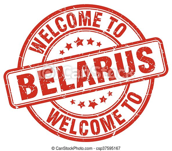 welcome to Belarus red round vintage stamp - csp37595167