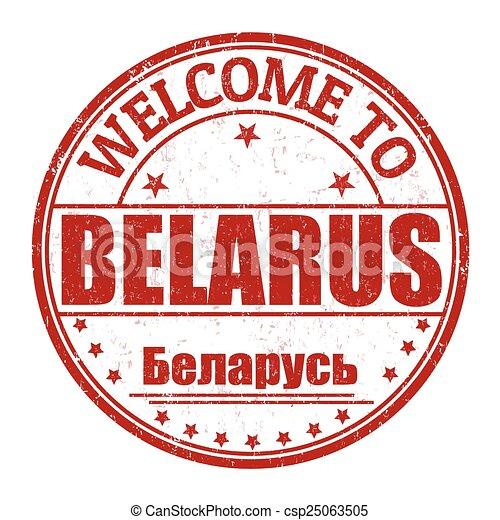 Welcome to Belarus stamp - csp25063505
