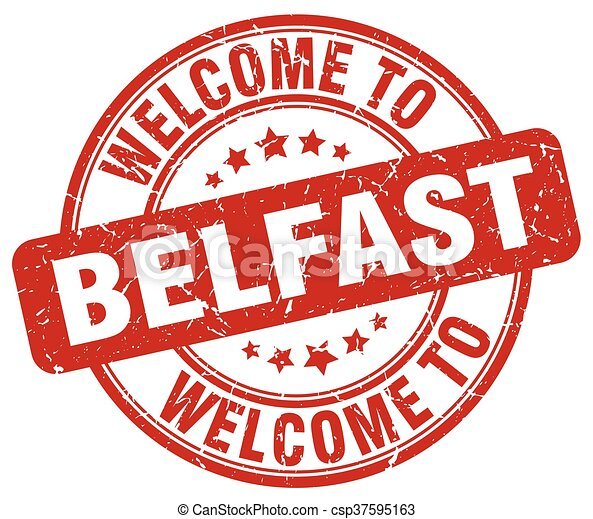welcome to Belfast red round vintage stamp - csp37595163