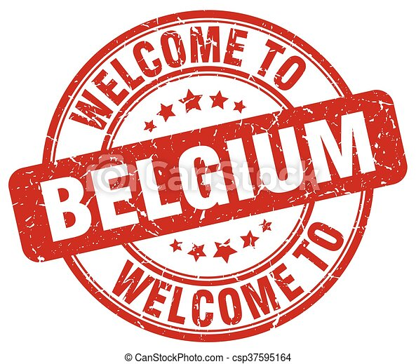 welcome to Belgium red round vintage stamp - csp37595164