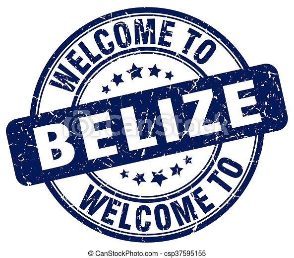 welcome to Belize blue round vintage stamp - csp37595155
