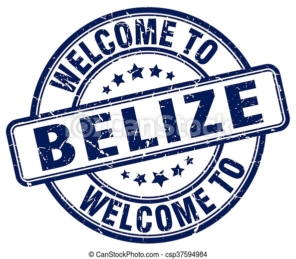welcome to Belize blue round vintage stamp - csp37594984