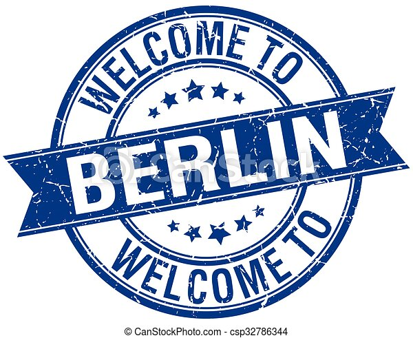welcome to Berlin blue round ribbon stamp - csp32786344