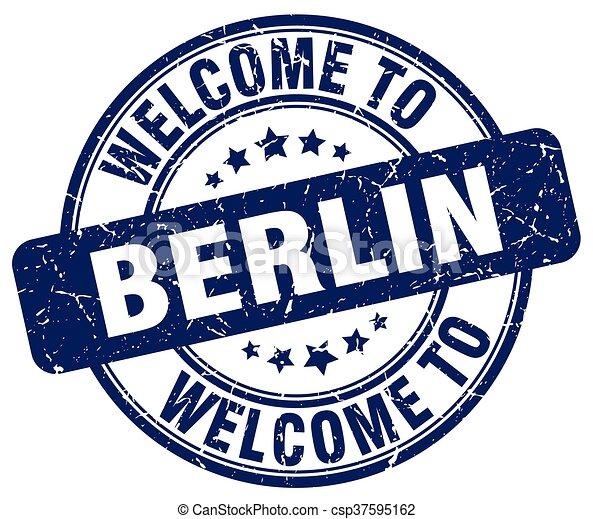 welcome to Berlin blue round vintage stamp - csp37595162