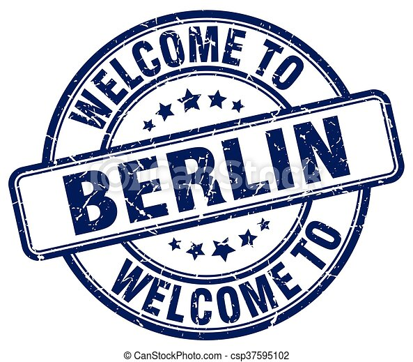 welcome to Berlin blue round vintage stamp - csp37595102